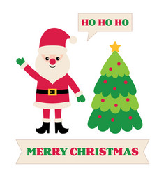 greeting card with santa claus and christmas tree vector image