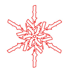 grunge outline snowflake vector image