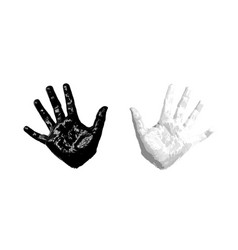 Hand kid print 3d isolated white background vector