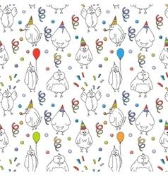Happy birthday seamless pattern Cartoon funny vector