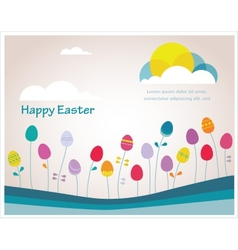 happy hipster easter colorful spring weather vector image