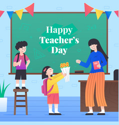 Happy teacher day social media post template vector