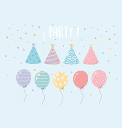 hat and balloons confetti celebration party vector image