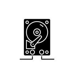 hdd storage black icon sign on isolated vector image