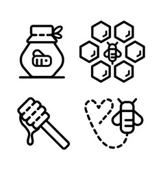 honey outline icons 2 vector image
