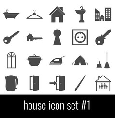 house icon set 1 gray icons on white background vector image