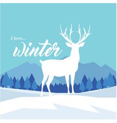 I love winter reindeer blue background imag vector