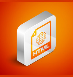 Isometric html file document icon download html vector