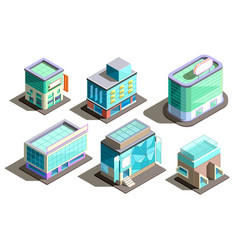 Isometric modern buildings cartoon vector