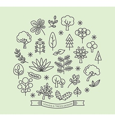 Leaves and Trees linear outline icons set vector image