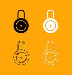 lock black and white set icon vector image