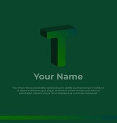 Logotype alphabet 3d logo letter t monogram logo vector