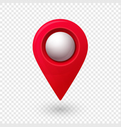 Map location pointer 3d pin with glowing glass vector