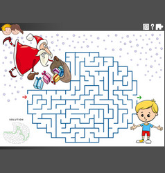 Maze educational game with santa claus with vector