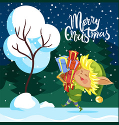 merry christmas greeting card elf hold presents vector image