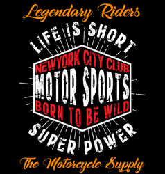 motorcycle tee graphic poster design vector image