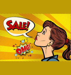 omg sale woman pop art retro vector image