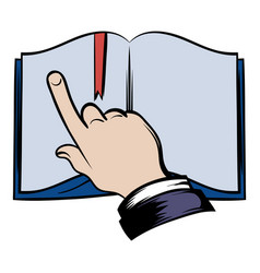 Open book with finger icon vector