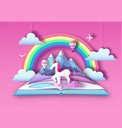 Open fairy tale book with unicorn rainbow vector