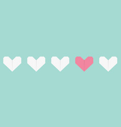 origami paper heart icon set white and pink color vector image