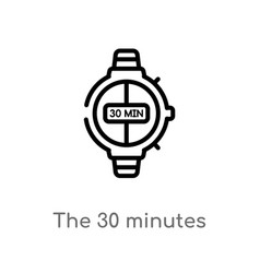Outline 30 minutes icon isolated black simple vector