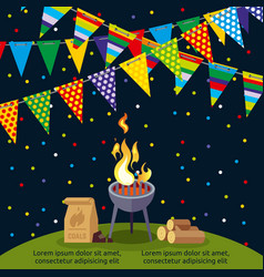 party or bbq poster design with colorful flags vector image