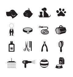 Pets grooming shop icons vector