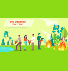 poster of civil extinguishing forest fire vector image