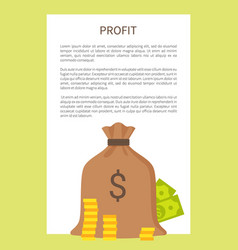 profit banner and isolated full cloth money bag vector image