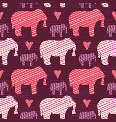 Purple and pink kids baby elephants silhouette vector