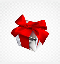 realistic gift box with red bow isolated on vector image