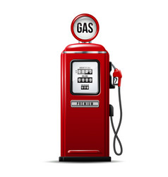 Red bright gas station pump with fuel nozzle vector