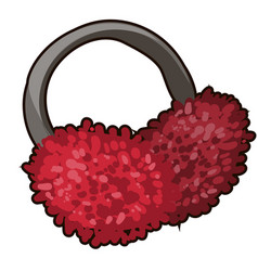 red winter earmuffs isolated on white background vector image