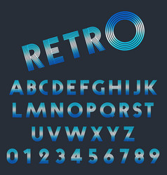 retro light font template set letters and vector image