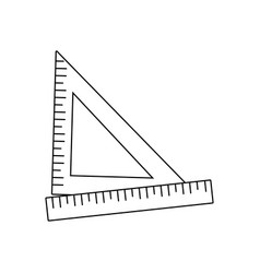 ruler and triangle ruler measure geometry elements vector image