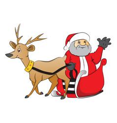 Santa claus waving from reindeer drawn cart vector