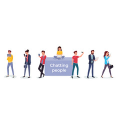 set chatting people vector image