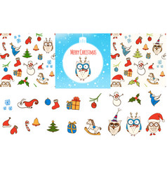 set of seamless christmas patterns card vector image