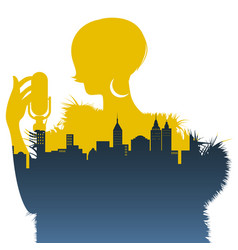 silhouette of woman singer and skyline of city vector image