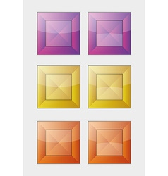 Six color square badges or buttons vector