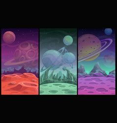 Space backgrounds collection fantasy alien planet vector