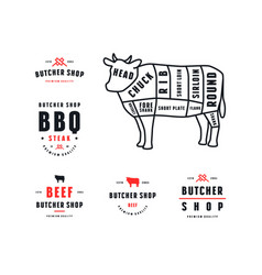 stock beef cuts diagram and label for butcher shop vector image