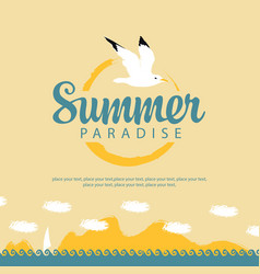 summer travel seascape with sailboat and seagull vector image