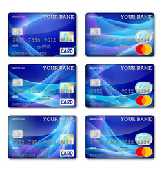 Template credit cards blue color set vector