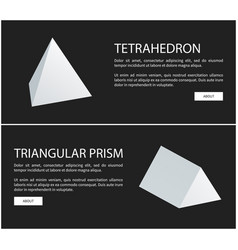 Tetrahedron and triangular prism geometric figures vector