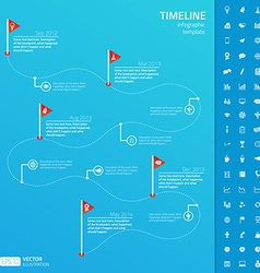 Timeline infographic template with set of startup vector