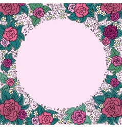 Varicolored floral round ornamental frame vector