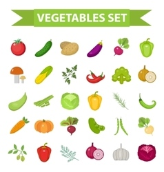 Vegetable icon set flat cartoon style Fresh vector