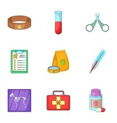 Veterinary equipment icons set cartoon style vector image