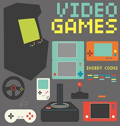 Video Games Icon Set vector image